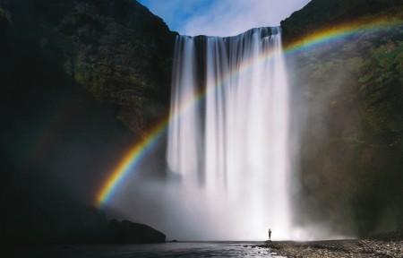 瀑布彩虹3440x1440带鱼屏高端电脑桌面壁纸