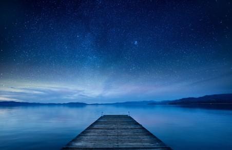 夜晚,湖,码头,天空,星星,5K星空风景超高清壁纸精选