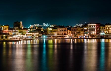 夜间水边城市风景3440x1440高端电脑桌面壁纸