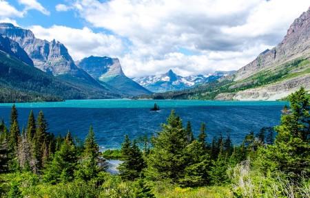 美国冰河国家公园圣玛丽湖中的小岛3440x1440风景高端电脑桌面壁纸