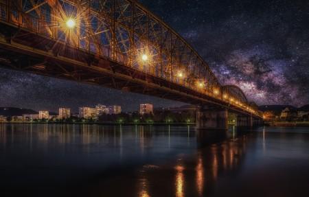 星空 桥梁 铁路 夜间风景4k高端电脑桌面壁纸