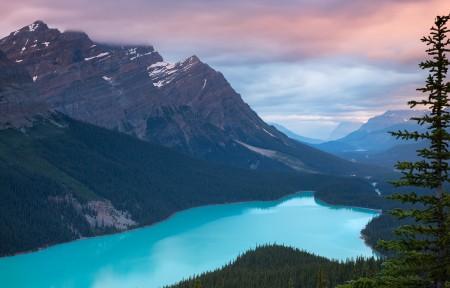 加拿大佩投湖3440x1440风景高端电脑桌面壁纸