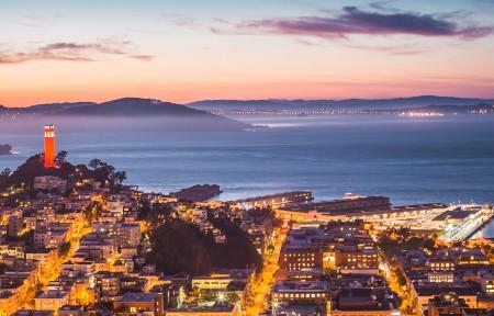 科伊特塔 恶魔岛 旧金山湾 晚上风景3440x1440超高清壁纸精选