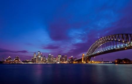 悉尼歌剧院 黄昏 悉尼大桥4k风景高端电脑桌面壁纸
