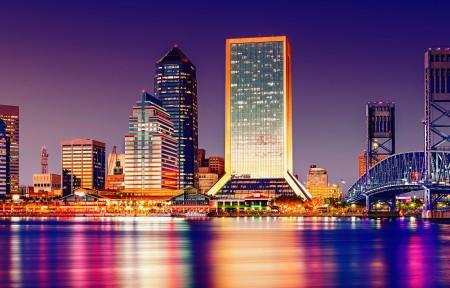 佛罗里达 城市夜景3440x1440高端电脑桌面壁纸