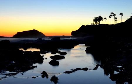 拉古纳海滩的日落3440x1440桌面高端电脑桌面壁纸