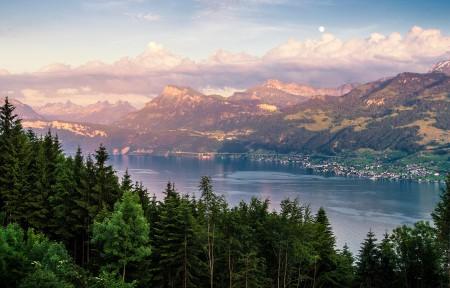 瑞士苏黎世湖村风景3440x1440高端电脑桌面壁纸