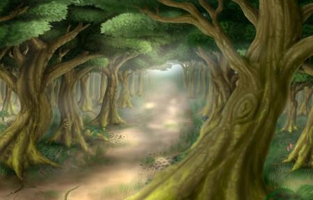 绿色森林小路插画风景3440x1440高端电脑桌面壁纸