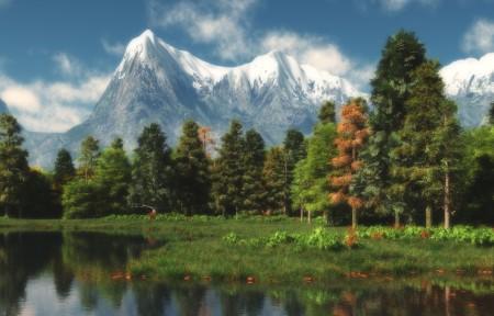 雪山树林湖泊山边风景3440x1440高端电脑桌面壁纸