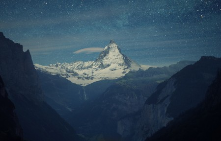 劳特布龙嫩山谷星夜3440x1440风景高端电脑桌面壁纸