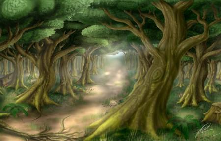 绿色树林小路绘画插画风景4k高端电脑桌面壁纸