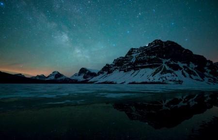 班夫国家公园 湖 银河 星空 5k风景高端电脑桌面壁纸
