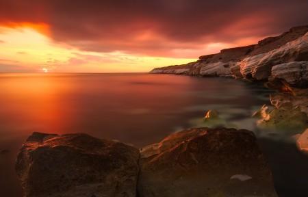 太阳落山时产生美丽的光照3440x1440风景超高清壁纸精选