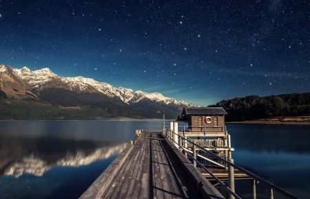 新西兰瓦卡蒂普湖月夜3440x1440高端电脑桌面壁纸