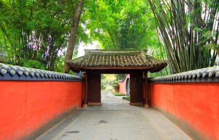 中国风红色围墙 寺院风景3440x1440高端电脑桌面壁纸