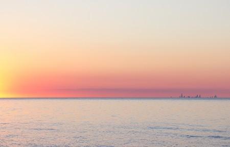 印第安纳海滩日落3440x1440超高清壁纸精选