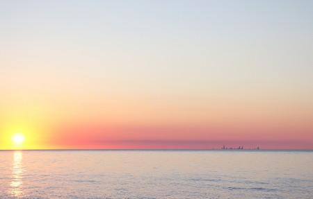印第安纳海滩日落4k高端电脑桌面壁纸
