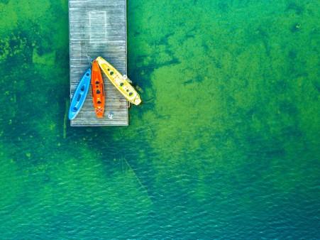 皮船,湖心岛,4k风景高端电脑桌面壁纸