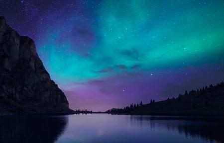 瑞士,湖 ,冰岛,极光,星空,奥罗拉湖的夜晚3440x1440风景高端电脑桌面壁纸