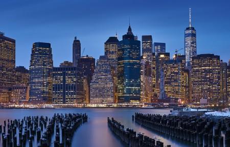 曼哈顿城市风景3440x1440高端电脑桌面壁纸