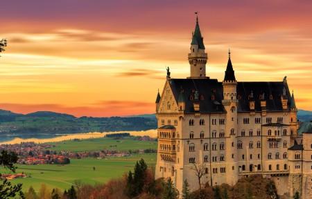 德国新天鹅城堡3440x1440风光高端电脑桌面壁纸