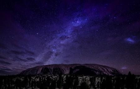 澳大利亚 艾尔斯岩 星空3440x1440高清高端电脑桌面壁纸