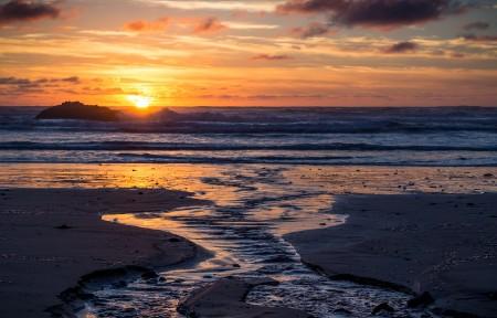 海滩日落风景3440x1440曲面屏带鱼屏高端电脑桌面壁纸