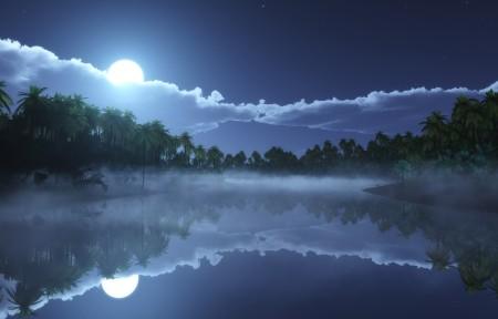 热带的寒冷的夜晚3440x1440风景高端电脑桌面壁纸