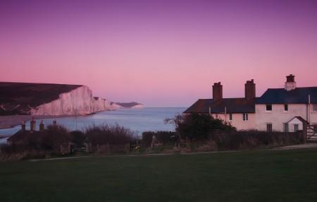 英国的七姐妹国家公园海边别墅小屋3440x1440高端电脑桌面壁纸