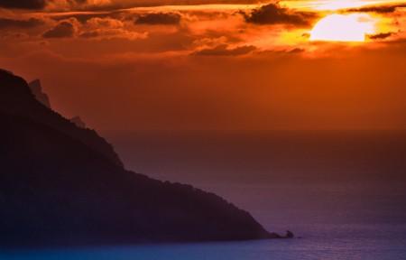 马洛卡海滩美丽日落风景3440x1440高端电脑桌面壁纸