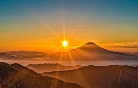 富士山日出风景4k高端电脑桌面壁纸