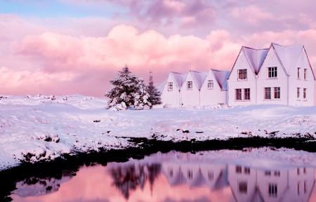 雪的房子风景曲面显示器3440x1440高端电脑桌面壁纸