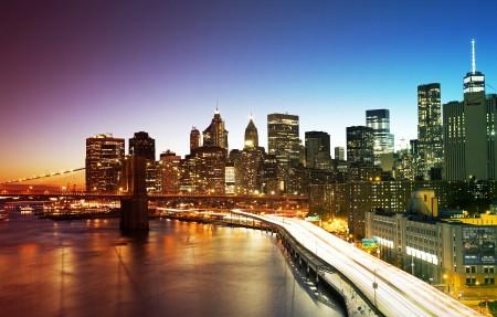 纽约市曼哈顿大桥4k高端电脑桌面壁纸