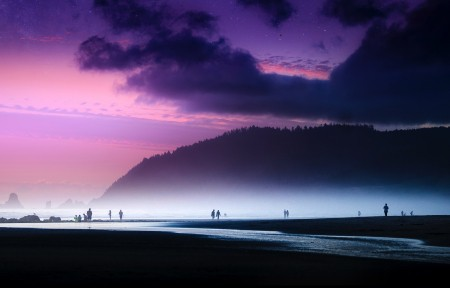 海滩星光灿烂的日落3440x1440高端电脑桌面壁纸