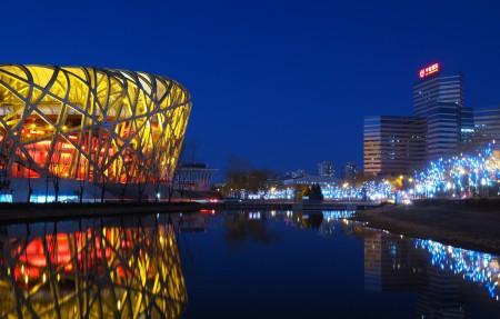 北京会展中心 北京鸟巢夜景4k高端电脑桌面壁纸