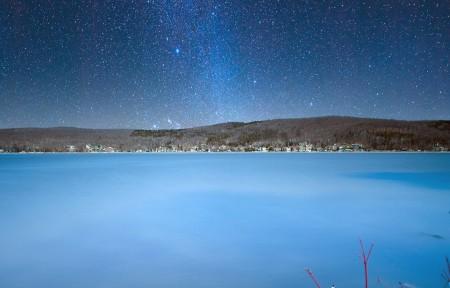 加拿大威廉湖 美丽的银河系3440x1440高端电脑桌面壁纸