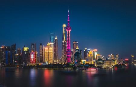 上海陆家嘴全景3440x1440高端电脑桌面壁纸