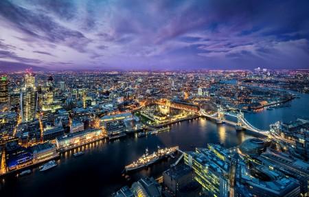 英国伦敦西欧城市夜景4K高端电脑桌面壁纸3840x2160