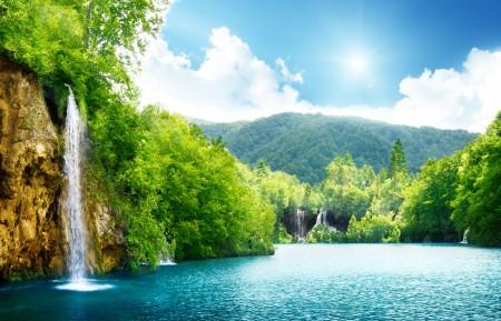 瀑布,湖水,树木,天空,云,高清4K风景图片