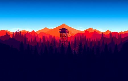 Firewatch Mod Day Final 美丽的山,塔,风景4K高清高端电脑桌面壁纸