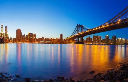 海湾的全景,纽约曼哈顿的桥梁3440x1440风景高端电脑桌面壁纸