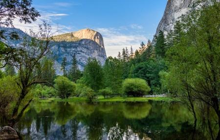 优胜美地国家公园镜湖3440x1440风景高端电脑桌面壁纸