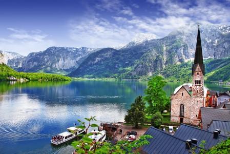 达赫施泰因峰 萨尔茨卡默古特 湖 教堂 5K风景高端电脑桌面壁纸