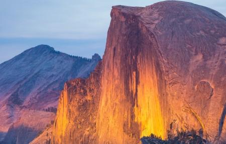 优胜美地国家公园,火红色的橙色光芒,4K风景高端电脑桌面壁纸
