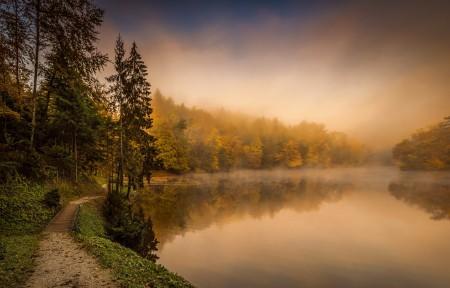 雾,秋天,河流,风景4K高端电脑桌面壁纸