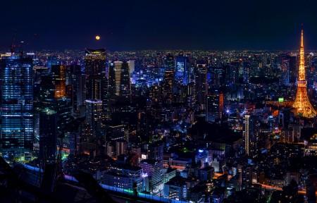 日本东京城市夜景3440x1440高端电脑桌面壁纸