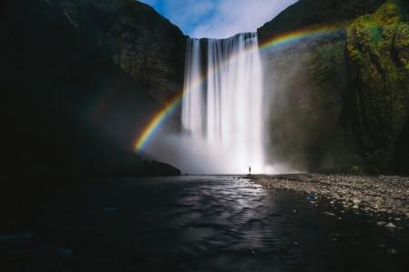 瀑布彩虹风景4k高端电脑桌面壁纸