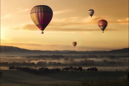 天空,云,草,热气球,4k风景图片