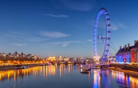 英国伦敦摩天轮3440x1440风景超高清壁纸精选