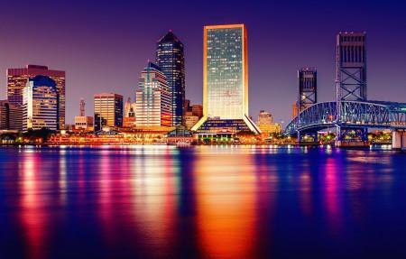 晚上,灯光,城市,美国摩天大楼,建筑,桥梁,4k风景高端电脑桌面壁纸